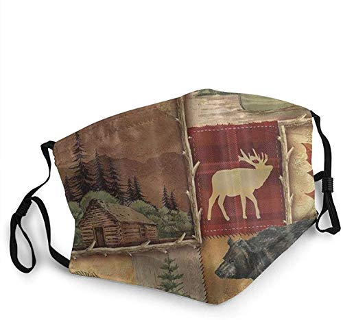 Face Mask Farmhouse Maple Leaf Bear Moose Deer Country Style Balaclava Unisex Reusable Windproof Mouth Bandanas Camping Motorcycle Running Made in USA