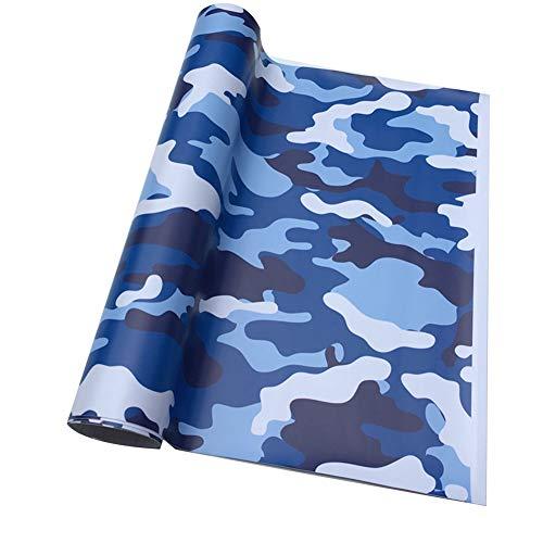 ENticerowts - Pellicola adesiva per auto, moto, moto, moto, mimetica, colore graffiti, modifica, per accessori auto, accessori interni e aspetto blu mimetico L