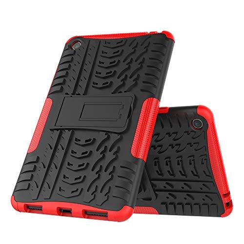 DAYNEW für Xiaomi Mi Pad 4 hülle,2 in 1 Armour Dual Layer Rüstung Defender TPU+PC schützender Zwei-Schichte Armor Design Tasche mit schlagfesten für Xiaomi Mi Pad 4-Rot