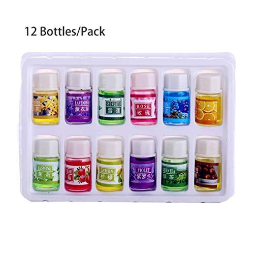 Zhou-YuXiang 12 Botellas/Paquete de Fragancia de Plantas Naturales 3 ml de Aceite Esencial para Bricolaje aromaterapia humidificador Perfume Olor purificador Aceite de Aire