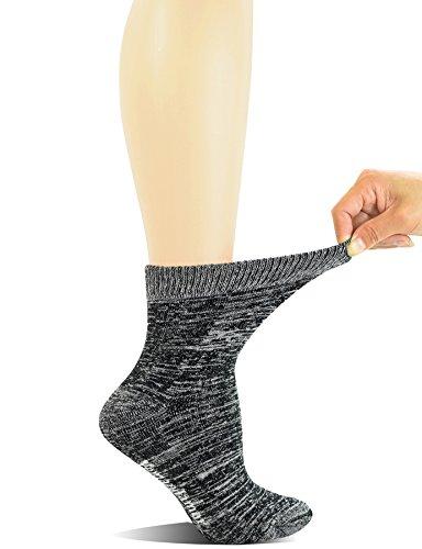Yomandamor Women's 3 Pairs Bamboo Non-Binding Quarter Thick Warm Winter Socks with Seamless Toe and Full Cushion