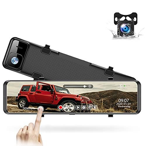 LFJG Dash Cams para Automóviles Cámara De Tablero Full HD 1080P Delantera Y Trasera, Frontal 4K, Grabación En Bucle, Detección De Colisiones, Monitor De Estacionamiento, Pantalla Curva 2.5D
