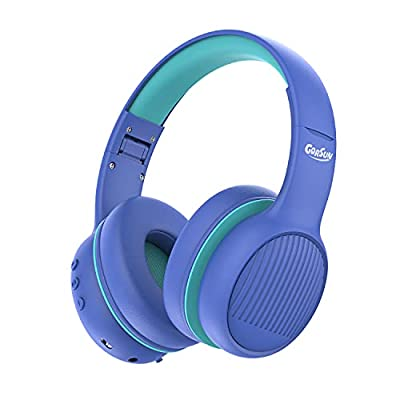 gorsun E66 wireless Kids Headphones with 85/94dB Volume Limited, toddler Bluetooth Headphones with microphone, Stereo Sound, Bluetooth 5.0, Foldable, over ear Childrens Headphones-blue by Gorsun