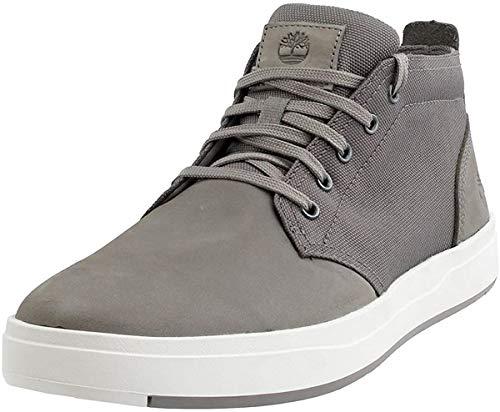 Timberland Mens Davis Square Mixed Media Chukka Shoes, Medium Grey Nubuck, 10.0 M