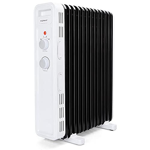 Aigostar Hubery - Radiador de aceite de 2500 W, 13 elementos. Tres niveles de potencia, termostato ajustable y función de apagado seguro. Protección antivuelcos. Recomendado para estancias de 25 m2