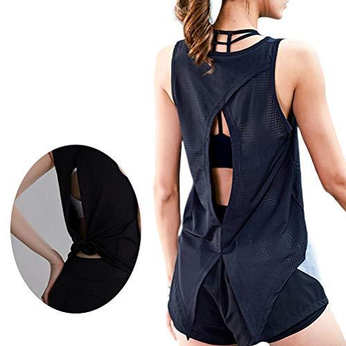 Katyma Sport Tank Tops Mujeres Open Back Yoga Top Sin Mangas Chaleco Deportivo elástico de Secado rápido para Yoga, Correr, Deportes, Fitness, Entrenamiento