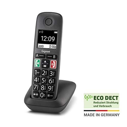 Gigaset Easy – Schnurloses Senioren-Telefon mit großen Tasten und extra lauter Klingelfunktion – hörgerätekompatibel, anthrazit-grau