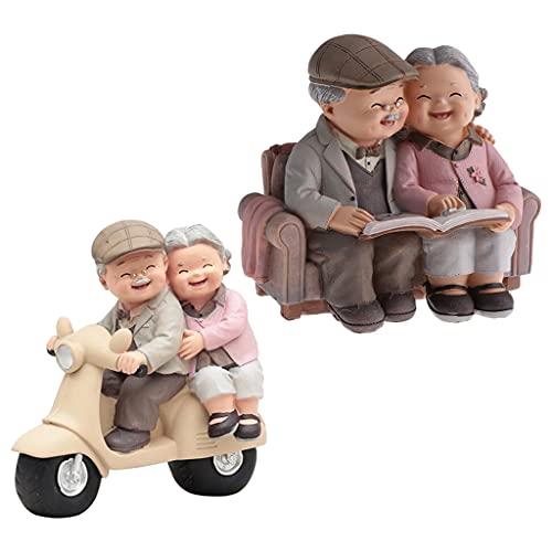 homozy 2 Peças de Resina para Casal Idoso Ornamento de Estatuetas de Velhice para a Sala de Estar