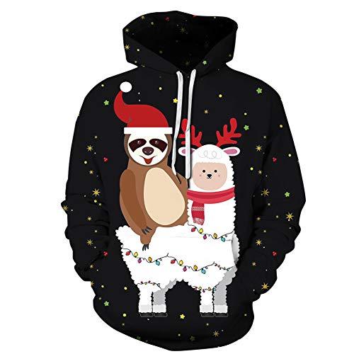 XDDQB,Herren Damen Christmas Sweater Hässliche Weihnachts Pullover 3D Gedruckt Langarm Strickpullover,S