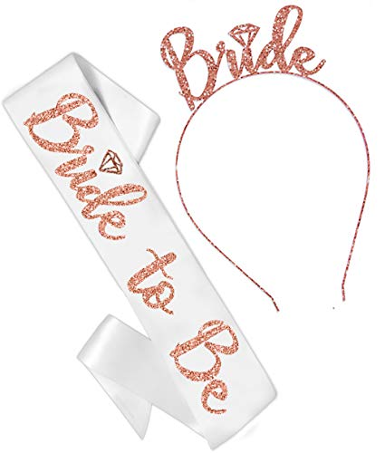 Bride Rose Gold Bridal Shower Set - Bridal Grade Satin White Sash & Rose Gold Diamond Bride Headband, Bride Kit, Bridal Giftset (B2B & HB RsGld) WHT