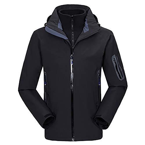 MHDE Herren Ski Jacke Winter Warme Windundurchlässig Wasserdicht Outdoor Sport Snowboarding-Ski-Mantel Zu,Black-XL