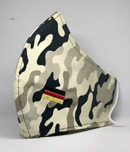 Mund und Nasenbedeckung Deutschland Flagge bestickt waschbar mit Fach für FFP Filter Winter Army Militär Camouflage 100% Baumwolle hergestellt in Deutschland mit Gummibändern