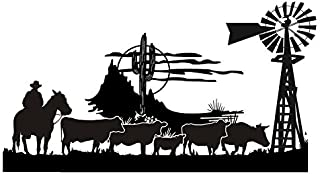 Cowboy Western Scene v4 Decal Sticker - Peel and Stick Sticker Graphic - - Auto, Wall, Laptop, Cell, Truck Sticker for Windows, Cars, Trucks