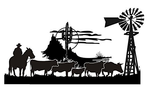 Cowboy Western Scene v4 Decal Sticker - Peel and Stick Sticker Graphic...