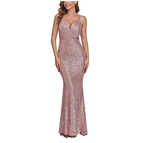 ZiSUGP Vestito di Raso Abito Lungo da Sera con Paillettes di Garza Elegante e Scollo a V Profondo Senza Maniche da Donna Vestito Donna Autunno Corto Elegante Medium Rosa