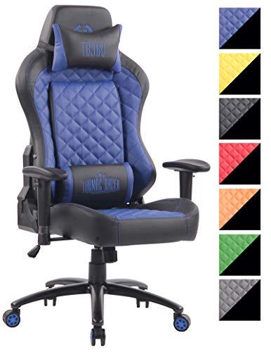 CLP Silla Gamer Rapid de PU I Silla Gaming con Reposacabezas I Silla Racing con Ruedas Deslizantes I Silla de Ordenador Racing I Color: Negro/Azul