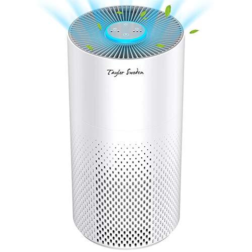 Taylor Swoden Fresh Air - Purificador de aire para hogar con filtro HEPA H13 y carbón activado | Algodón antibacteriano | Sensor de calidad del aire (PM2.5) | CADR 130m³/h | Temporizador de apagado