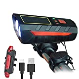 Bike Lights Front and Back - Led Rechargeable Bicycle Light Set, Solar or USB Charging Modes, with Bike Horn and Safety Warning Rear Light, Waterproof and Easy to Install