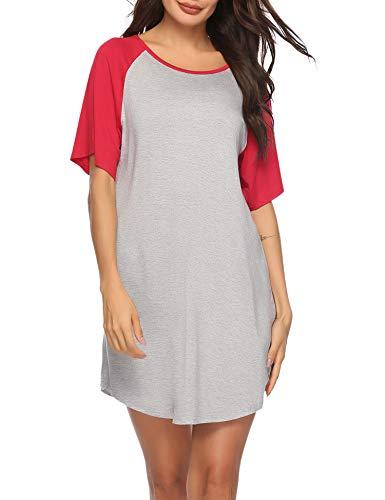 Sykooria Camisones Algodón Mujer Sexy Tirantes Camisón Pijamas de Dormir Ligero y Suave Casual Vestidos Verano Largos sin Mangas Rojo S-XXL