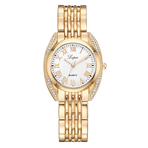 GJHBFUK Reloj Moda Mujeres Números Romanos Aleación Correa Reloj Casual Reloj De Pulsera De Cuarzo (Oro + Blanco)