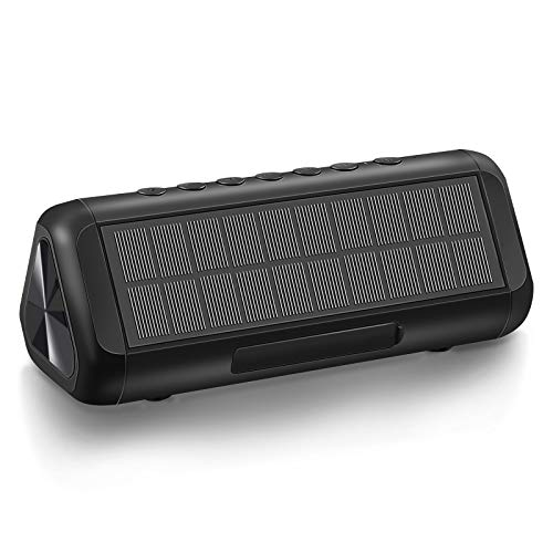 Bluetooth Speakers,Speakers Bluetooth Wireless Waterproof Outdoor Portable Solar Bluetooth 5.0 Speaker with 5000mAH Battery 12W 50H Playtime Stereo Sound for Home Party, Shower, Travel