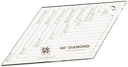 Simplicity EZ Quilt-Schablone aus Plexiglas, diamantförmig, 60-Grad-Winkel