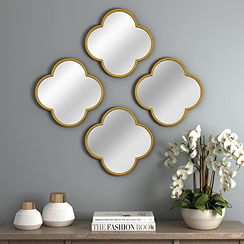 NXHOME Decorative Wall Mirror Set - Gold Metal Frame Modern Mirror, 4 Set Accent Mirrors, Chic Geometric Mirror for Living Room Entryway Dining Room