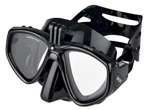 SEAC One Pro Máscara Soporte de cámara GoPro para Buceo y Snorkel, Adultos Unisex, Negro, Estándar