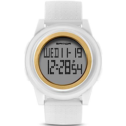 RORIOS キッズ腕時計 デジタル表示 クオーツ 日付 曜日表示 ボーイズ ガールズ スポーツウオッチ 子供腕時計 革バンド LEDライト 白&ゴルドー
