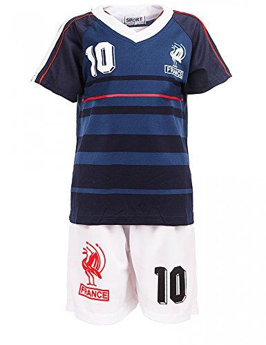 Top-Kiddy-Fashion 24brands - Jungen Fußball Set 2 Teilig Trainings Trikot Deutschland Italien Brasilien Spanien Türkei Schweiz Ländertrikot - 2630, Größe:92-98;Farbe:Frankreich