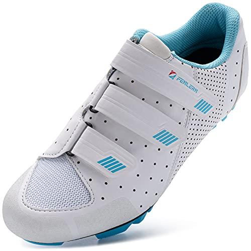 URDAR Zapatillas de Ciclismo Mujer Montaña Zapatillas de Bicicleta Transpirables Cómodos Zapatillas de Ciclismo MTB(Blanco,40 EU)