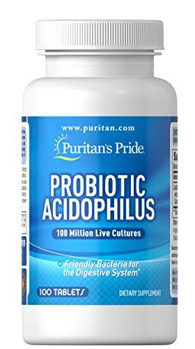 Puritans Pride Probiotic Acidophilus Tablets, White, 100 Count