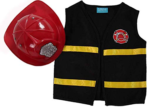 Making Believe Kids Black Fireman Costume Pretend Play Vest & Red Hat Set, Size 6/8