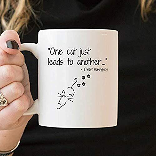 Dana34Malory - Taza de desayuno, diseño de gato Ernest Hemingway con cita de Ernest Hemingway