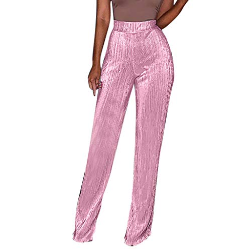 WOZOW Damen Trousers Solid Metallic Reflectable Straight Leg Extra Lang Long Vertical Streifen Gestreift Falten Gefaltet Slim High Waist Freizeithose (L,Rosa)