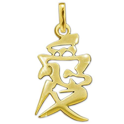 Clever Schmuck Goldener Damen Anhänger chinesisches Schriftzeichen Symbol Liebe 16 mm offen glänzend 333 GOLD 8 KARAT im rotem Liebes-Etui