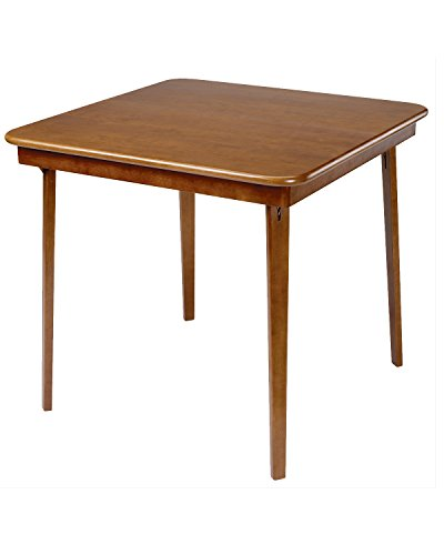 Meco STAKMORE Straight Edge Folding Card Table Fruitwood Finish