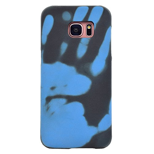SHUNDA Samsung Galaxy S7 Edge Case, Anti-Slip Matte PC Case Color Changing with Temperature, Thermal Induction Slim Hard Protective Cover for Samsung Galaxy S7 Edge - Black + Blue