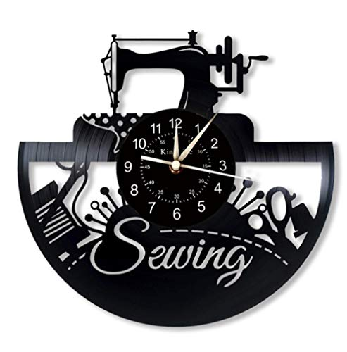 sewing Machine Vinyl Record Wall Clock | Creative Gifts For Tailor| Vintage Sew Decoration | 7 Color Luminous Wall Clock. 12Inch