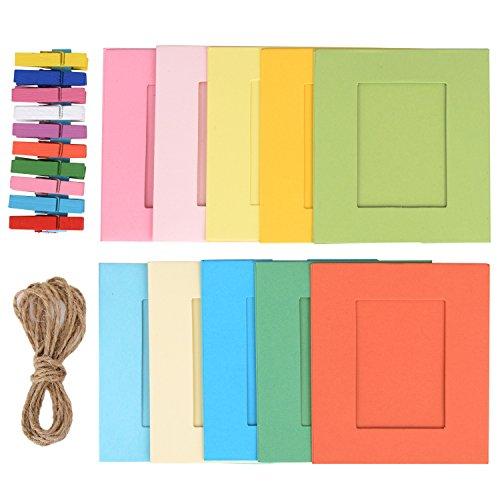 20 Stück Papierrahmen Papier Fotorahmen Bilderrahmen mit 20 Stück Mini Holzklammern und 2 Stück Twines, Mehrfarbig, 42 Stück