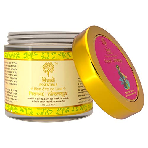 Khadi Essentials Methi Hair Growth Mask with For Dry, Damaged, Frizzy Hair And Hair Fall Control With Frankincense, Vetiver Essential Oil, 100gm SLS Paraben Free
