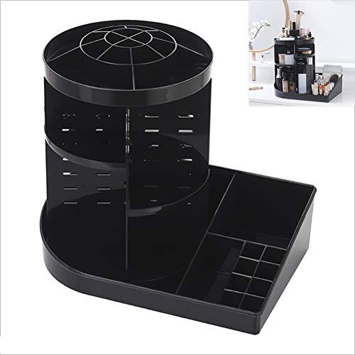 WZY 林360度回転メイクボックス透明なリップスティック多機能デスクトップ化粧品棚ストレージボックス(ブラック) (Color : Black)