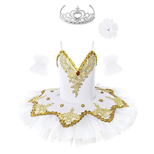 TiaoBug Enfant Fille Justaucorps Danse Classique Ballet Tutu Robe Danse Patinage Gymnastique à Paillettes Robe Princesse Gants et Pince de Cheveux Costume Carnaval C Blanc 3-4 Ans