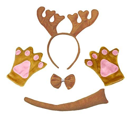 Petitebelle Animal Headband Bowtie Tail Gloves Unisex 4pc Children Costume 1-5y (Brown Xmas Reindeer)