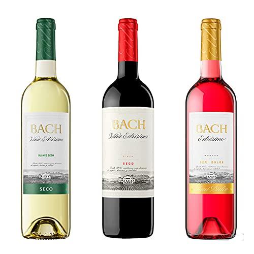 Pack x3 Vinos Bach - Bach Vino Blanco Seco + Bach Vino Tinto Seco + Bach Vino Rosado Semidulce – DO Catalunya - 3x75cl