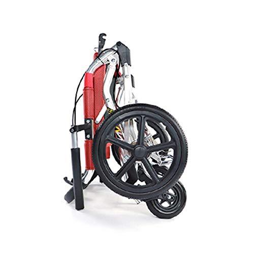 Aluminium-Rollstuhl-Ultraleicht-Tragbarer Rollstuhl, Haltbarer, Verbreiterter Sicherheitsgurt Mit Handlauf, Sitzbreite 34,5 Cm, Entfaltungsgröße 73 * 44,5 * 91 Cm, Geeignet For Ältere Menschen Und Beh
