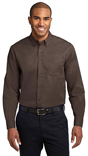 Port Authority Long Sleeve Easy Care Shirt, Coffee Bean/Light Stone, Medium