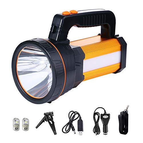 MOZC Taschenlampe Wiederaufladbar 7800 Lumen 8-24h Beleuchtung 800M, LED Handscheinwerfer Tragbare IPX4 Wasserdicht für Outdoor, Abenteuer, Wandern, Notfall, mit Auto-Ladegerät (H-Typ, Gold)