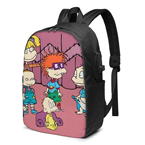 IUBBKI Bolsa para computadora mochila USB Men Women Packable Backpack with USB Charging Port, anti theft rain cover SchoolBag, Book Bags Daypack for Outdoor Running Camp, Cute Anime Rugrats-in-Paris