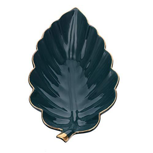 Hemoton Plato de Joyería de Hoja de Cerámica Plato de Almacenamiento de Joyas Bandeja de Baratijas Anillo de Porcelana Titular de La Merienda Organizador de Joyas para Collar de Oro